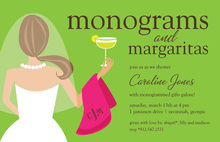 Monograms Margaritas Classy Cocktail Invitations