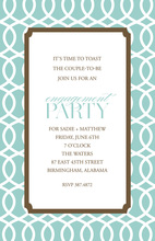 Decorative Trellis Aqua Brown Invitation