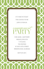 Sophisticated Trellis Green Brown Invitations
