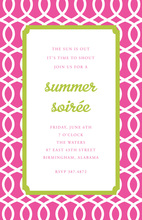 Feminine Trellis Pink Green Invitation