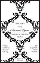 Black Damask Noir Wedding Shower Invitations