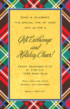 Yellow Holiday Plaid Invitations