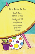 Giant Yellow Umbrella Beach Play Invitations