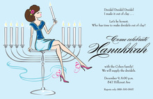 Fun Menorah Girl Invitation
