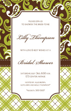 Earthy Paisley Formal Earthy Brown Invitation
