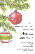 Fir Branches Glass Ornaments Invitation