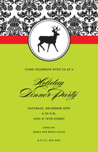 Silhouette Deer Gala Damask Invitation