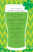 Green Pint Green Beer Invitations