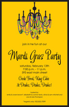 Mardi Gras Flair Chandelier Invitation