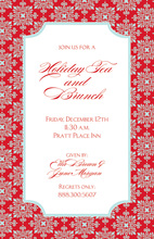 Dazzle Red Flourish Border Invitation