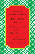 Festive Holiday Trellis Red Green Invitation