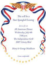 Bald Eagle Patriotic Ribbon Flowing Invitation