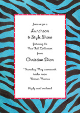 Faux Tiger Stripes Vivid Blue Invitation
