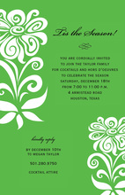 White Modern Flower In Green Invitation