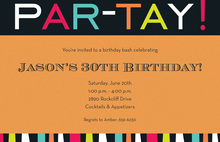 Orange Party Celebration Invitations