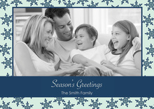 Formal Contemporary Blue Snowflakes Photo Cards