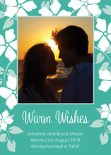 Romantic Tropical Teal Floral Photo Cards