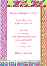 Mexican Flower Colorful Border Invitation