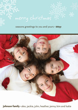 Playful Snowflakes In Sky Blue Photo Cards