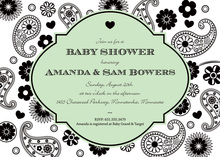 Modern Paisley Green Invitation