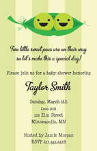 Peas In A Pod Twin Baby Shower Invitations