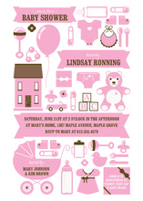 Baby Shower Girl Elements Invitation