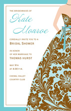 Beautiful Turquoise Damask Bridesmaid Invitations