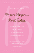 Simple Pink Sweet 16 Birthday Invitations
