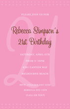 21st Pink Milestone Birthday Invitations