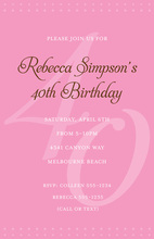 40th Pink Milestone Birthday Invitations