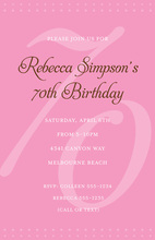 70th Pink Milestone Birthday Invitations