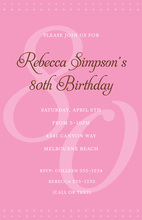 80th Pink Milestone Birthday Invitations
