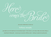 Here Comes The Bride Script Bridal Shower Invitations