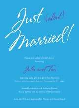 Just About Married Sign Blue Bridal Shower Invitations
