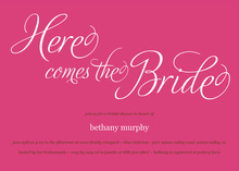 Here Comes The Bride Magenta Bridal Shower Invitation