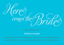 Here Comes The Bride Blue Bridal Shower Invitations