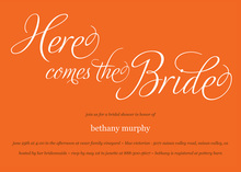 Here Comes The Bride Orange Bridal Shower Invitations