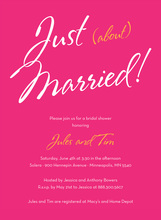 Just About Married Sign Hot Pink Bridal Invitations