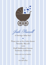 Stroller Hearts on Blue Stripes Invitation