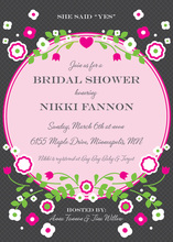 Vintage Bright Pink Floral Shape Party Invitations
