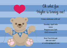 First Birthday Boy Teddy Bear Invitation