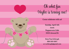 First Birthday Girl Teddy Bear Invitation