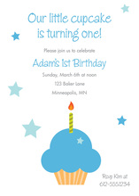 Blue Cupcake First Birthday Invitation