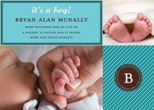 Photo Baby Announcements Teal Stripes Invitation