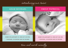 Celebrating Twins Baby Photo Cards