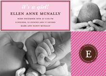 Pink Stripes Baby Monogram Photo Cards