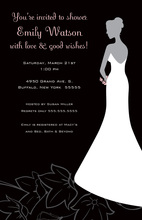 Bride On Splendid Flowers Black Wedding Invitations