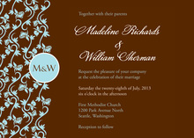 Formal Teal Vines Chocolate Wedding Invitations