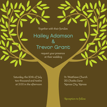 Tree Branches Leaves Brown Invitations