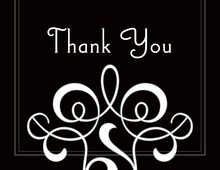 Popular Classic Flourish In Black Thank You Cards
